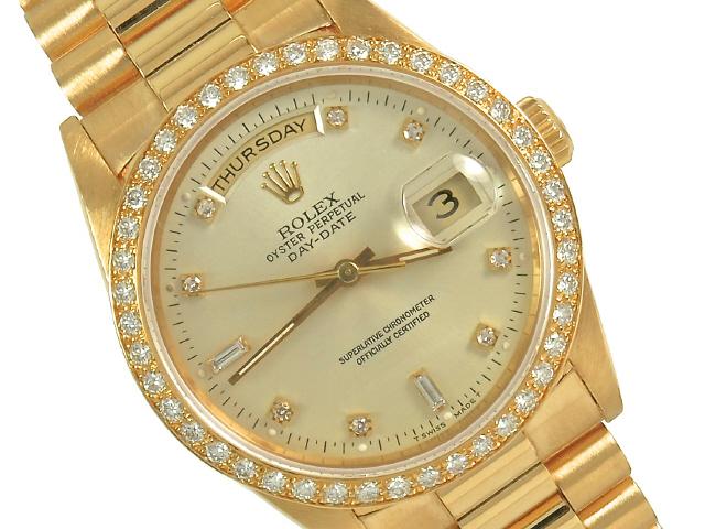 Pre Owned Rolex 18ky President 18348 Mens Diamond Watch